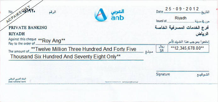 Printed Cheque of Arab National Bank (ANB) - Private Banking Saudi Arabia