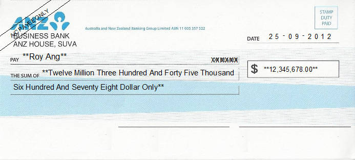 Printed Cheque of ANZ Bank in Fiji