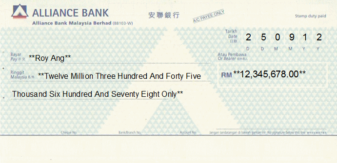 Printed Cheque of Alliance Bank in Malaysia