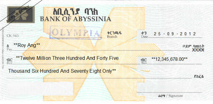 Printed Cheque of Bank of Abyssinia in Ethiopia