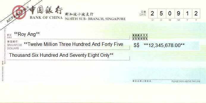 Printed Cheque of Bank of China in Singapore
