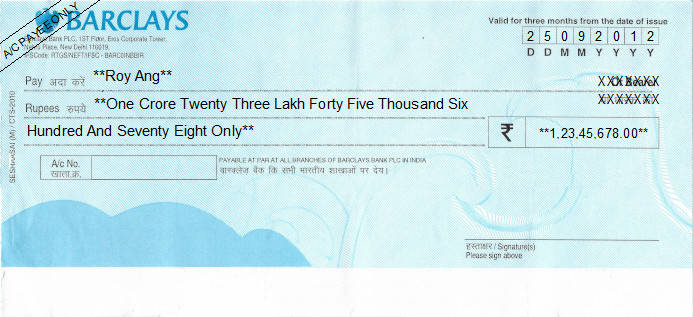 Printed Cheque of Barclays Bank in India