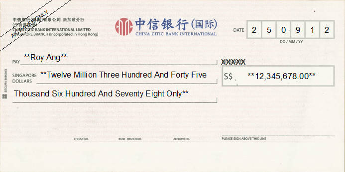 Printed Cheque of China Citic Bank International in Singapore