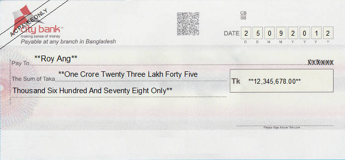 Printed Cheque of City Bank in Bangladesh