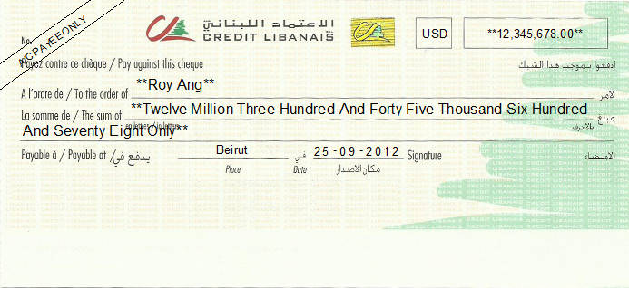 Printed Cheque of Credit Libanais in Lebanon