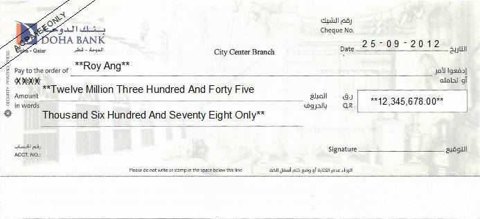 Printed Cheque of Doha Bank in Qatar