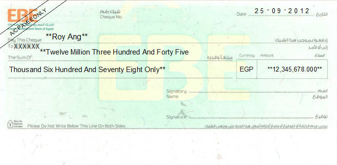 Printed Cheque of Export Development Bank of Egypt - EBE in Egypt