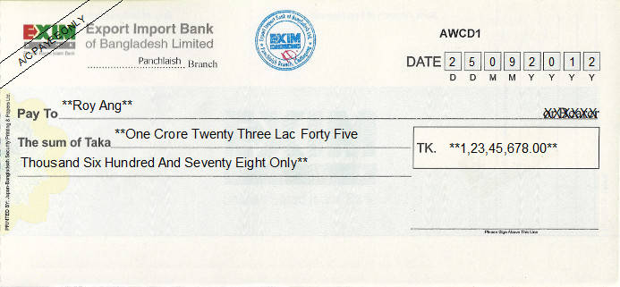 Printed Cheque of EXIM Bank - Export Import Bank in Bangladesh