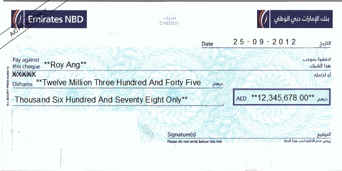 Printed Cheque of Emirates NBD UAE