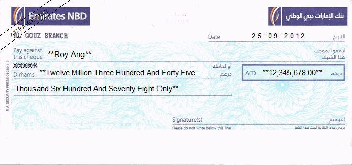 Printed Cheque of Emirates NBD (Personal) UAE