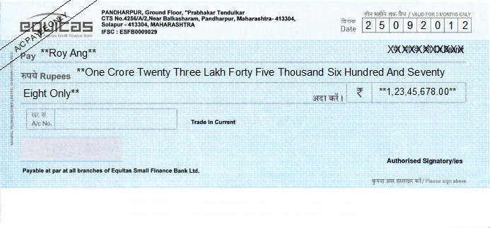 Printed Cheque of Equitas Small Finance Bank in India