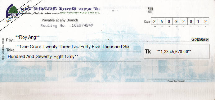 Printed Cheque of FSIB - First Security Islami Bank in Bangladesh