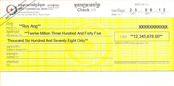 Printed Cheque of First Commercial Bank Cambodia