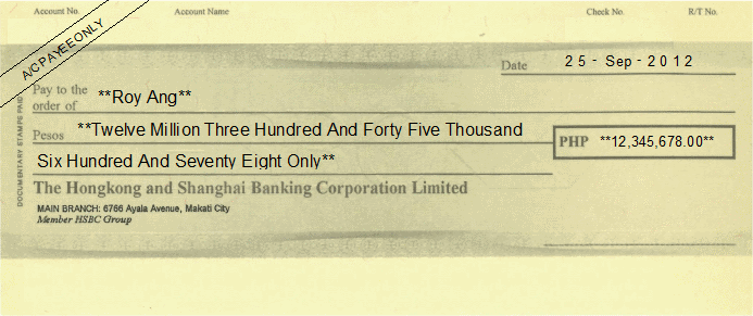 Printed Cheque of HSBC Bank Philippines