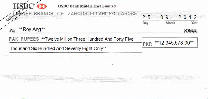 Printed Cheque of HSBC Bank Pakistan