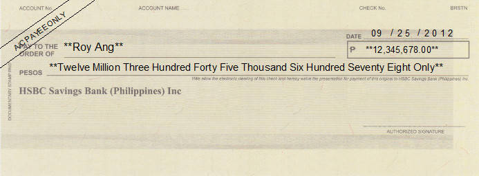 Printed Cheque of HSBC Savings Bank Philippines