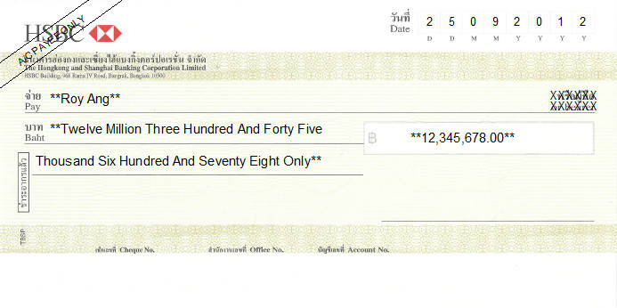 Printed Cheque of HSBC in Thailand