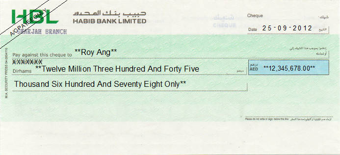 Printed Cheque of Habib Bank Limited (HBL) in UAE