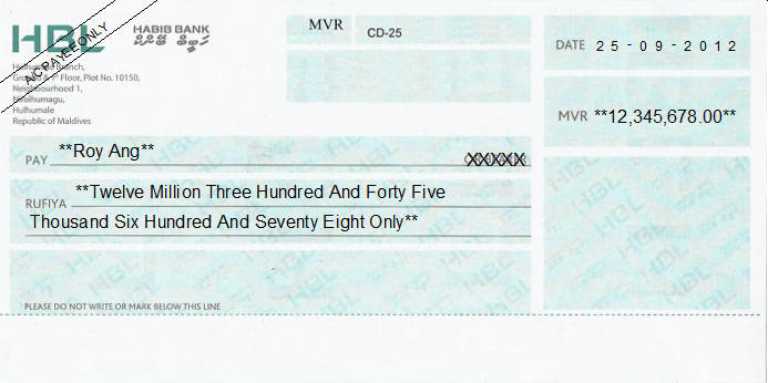 Printed Cheque of Habib Bank - HBL in Maldives