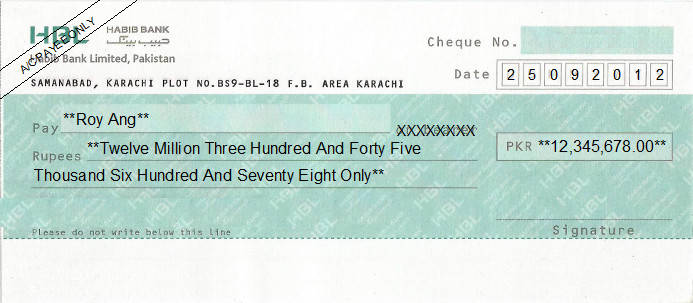 Printed Cheque of Habib Bank (HBL) Pakistan