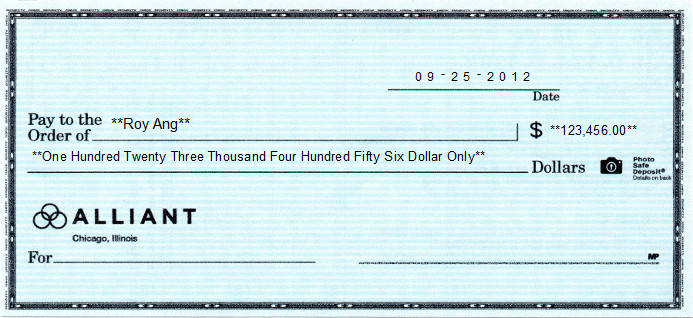 Printed Check of Harland Clarke's Wallet Check - Guardian Safety Blue in United States