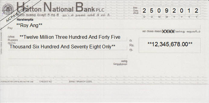Printed Cheque of Hatton National Bank in Sri Lanka