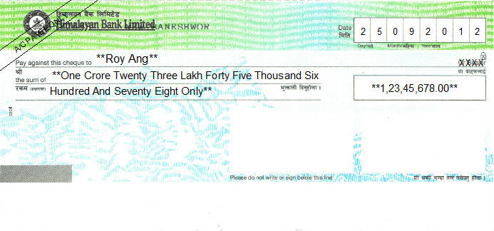 Printed Cheque of Himalayan Bank in Nepal