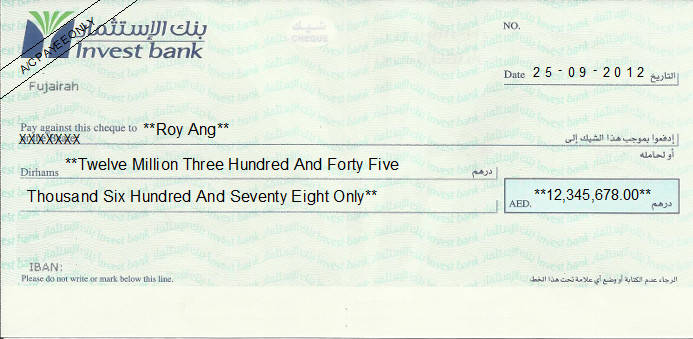Printed Cheque of Invest Bank in UAE