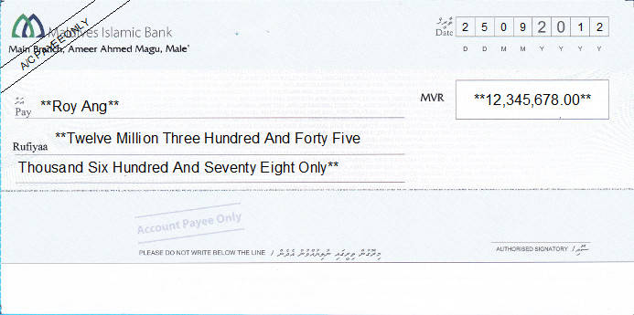 Printed Cheque of Maldives Islamic Bank in Maldives