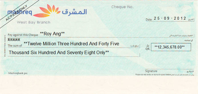 Printed Cheque of Mashreq Bank Qatar