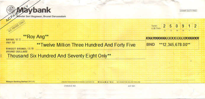 Printed Cheque of Maybank in Brunei