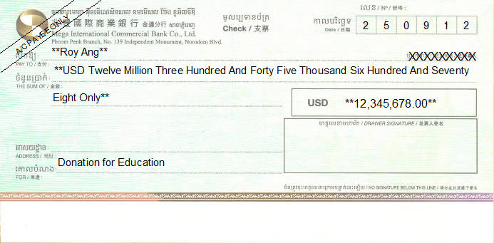 Printed Cheque of Mega International Commercial in Cambodia