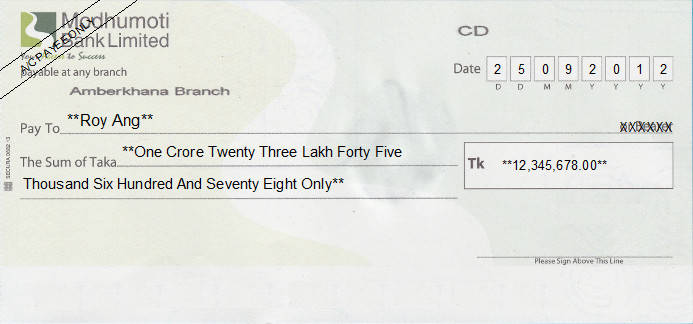 Printed Cheque of Modhumoti Bank Limited in Bangladesh