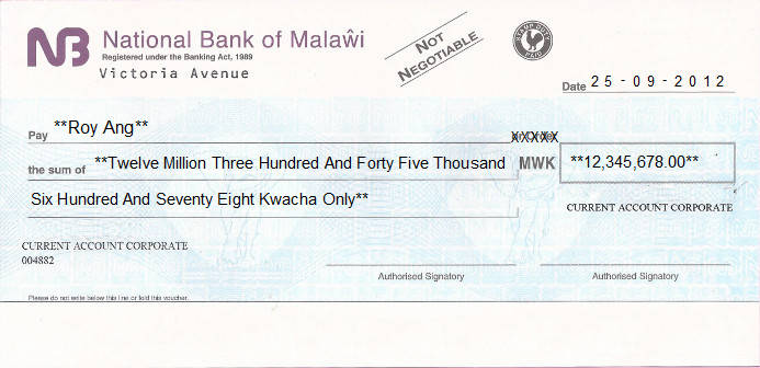 Printed Cheque of National Bank of Malawi in Malawi