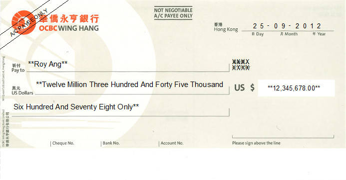 Printed Cheque of OCBC Wing Hang (USD) in Hong Kong (華僑永亨銀行)