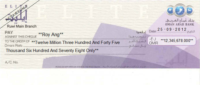 Printed Cheque of Oman Arab Bank - Elite