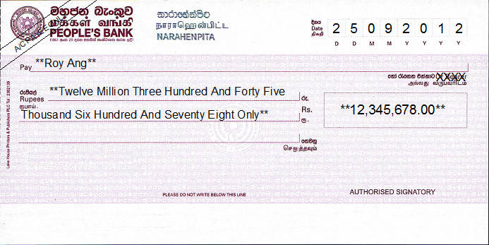 Printed Cheque of People's Bank in Sri Lanka