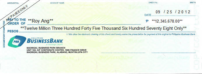 Printed Cheque of Philippine Business Bank in Philippines