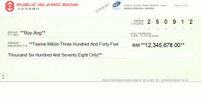 Printed Cheque of Public Islamic Bank in Malaysia