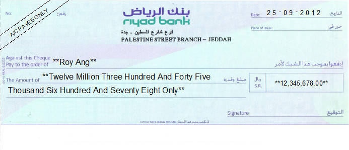 Printed Cheque of Riyad Bank Saudi Arabia