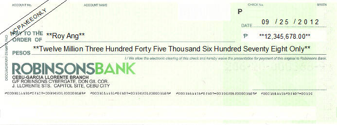 Printed Cheque of Robinsons Bank in Philippines