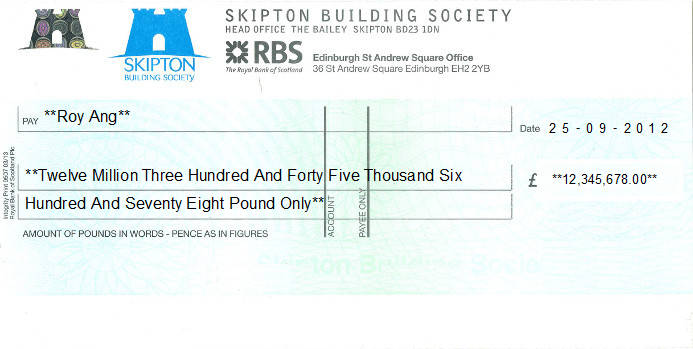 Printed Cheque of Skipton Building Society in United Kingdom