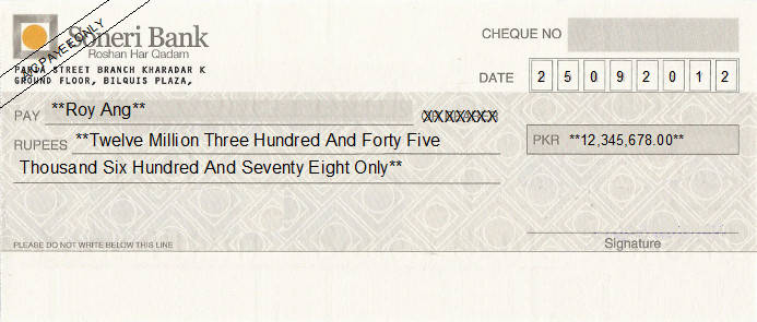 Printed Cheque of Soneri Bank Pakistan