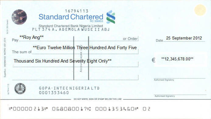 Printed Cheque of Standard Chartered Bank (Euro) in Nigeria