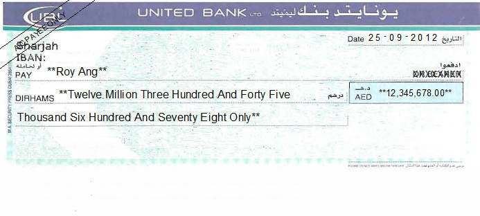 Printed Cheque of United Bank Ltd (UBL) in UAE
