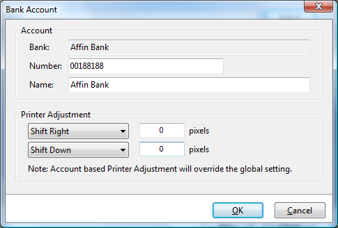 Use account level Printer Adjustment to override and fine-tune global Printer Adjustment setting